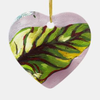 big green leaf ceramic heart decoration