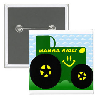 BIG GREEN TRACTOR 15 CM SQUARE BADGE