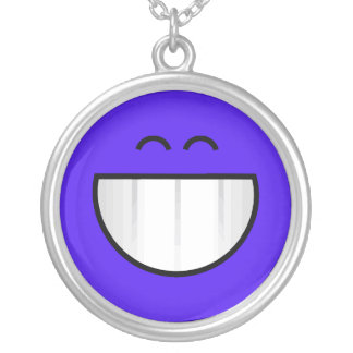big grin happy face silver plated necklace