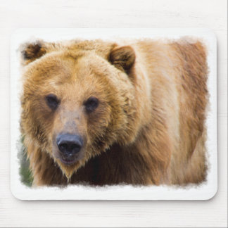 Big Grizzly Bear White Border Mouse Mat