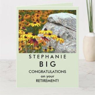 BIG Happy Retirement Congratulations Yellow Flower Card