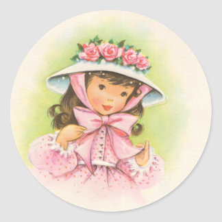 Big Hat With Roses on a Little Girl Round Sticker