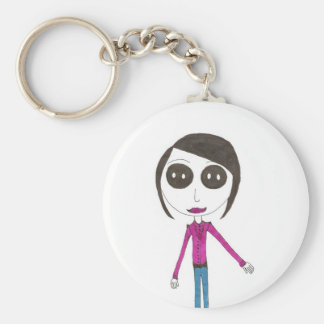 Big Head Button girl Key Ring
