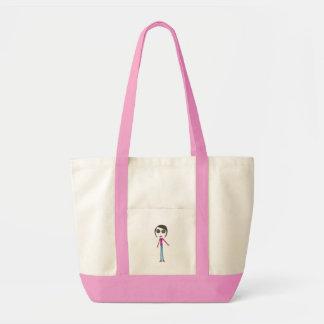 Big Head Button girl Tote Bag