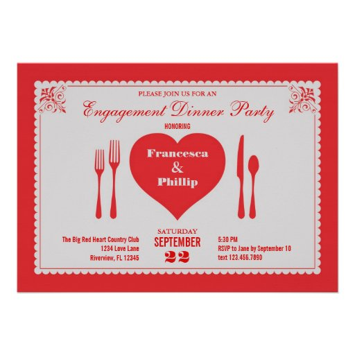Big Heart Engagement Dinner Party Invitation