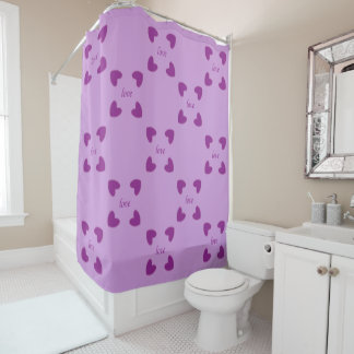 Big hearts love purple shower curtain