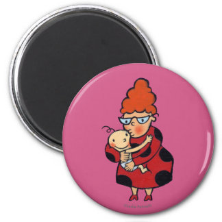 Big Hello Hugs from Auntie in Red 6 Cm Round Magnet