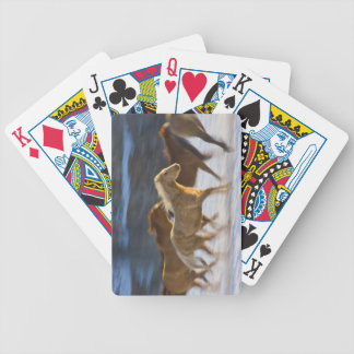 Big Horn Mountains, Horses running in the snow 2 Bicycle Playing Cards