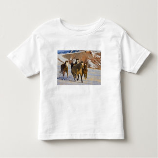 Big Horn Mountains, Horses running in the snow 3 Toddler T-Shirt