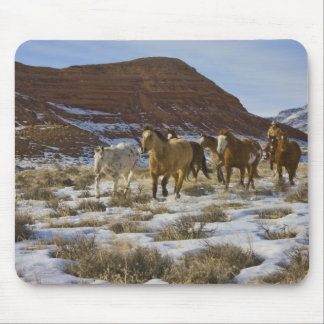 Big Horn Mountains, Horses Running in The Snow Mouse Mat