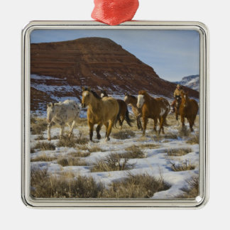 Big Horn Mountains, Horses Running in The Snow Silver-Colored Square Decoration