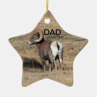 Big Horn Ram Dad Ceramic Star Decoration