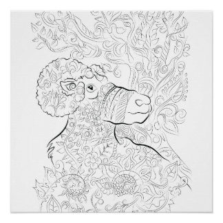 big horn sheep drawing- Adult colouring poster