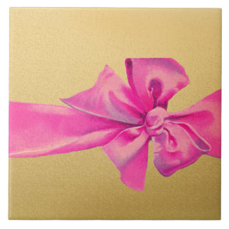 Big Hot Pink Ribbon Bow on Gold Shimmer Large Square Tile