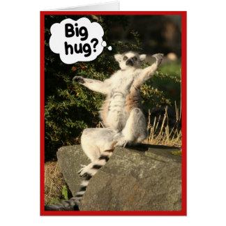 Big Hug Lemur Greeting Card Template