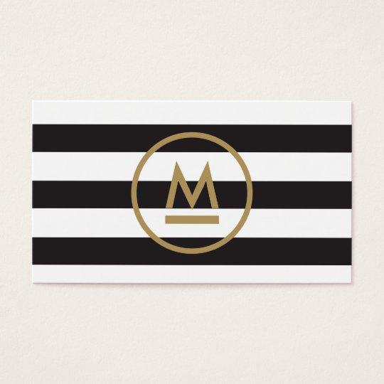 Big Initial Modern Monogram on Bold Stripes Business