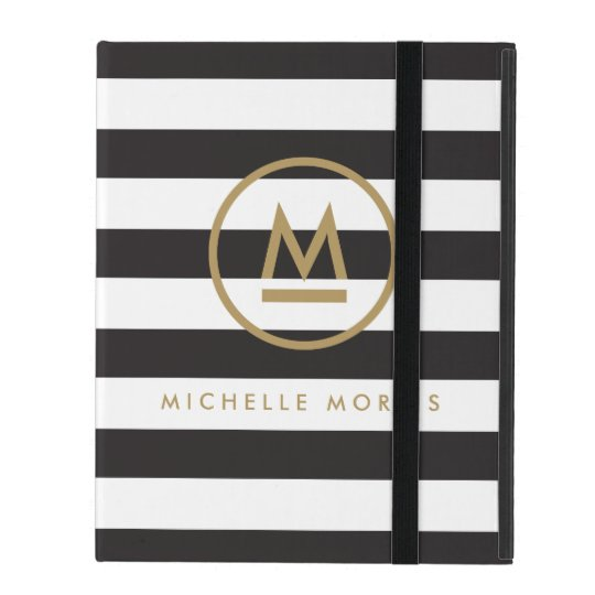 Big Initial Modern Monogram on Bold Stripes iPad