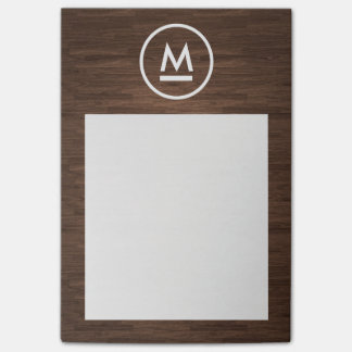 Big Initial Modern Monogram on Brown Wood Post-it Notes