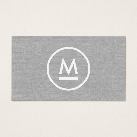 Big Initial Modern Monogram on Grey Linen Business