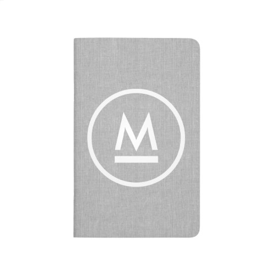 Big Initial Modern Monogram on Grey Linen Journal