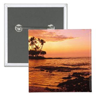 Big Island, Hawaii. Sunset, Big Island Hawaii. 2 15 Cm Square Badge