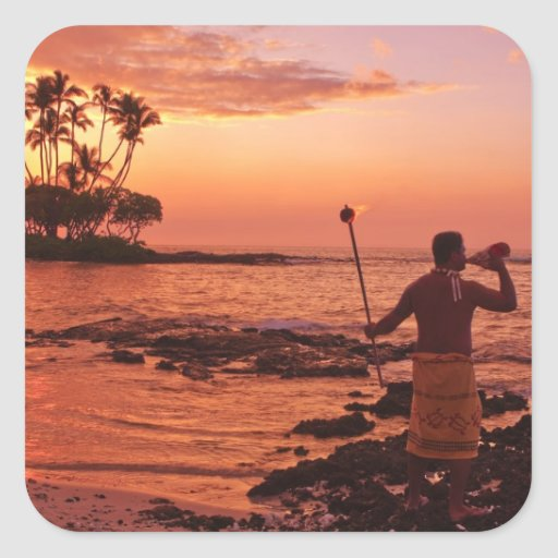 Big Island, Hawaii. Sunset, Big Island Hawaii. Square Sticker