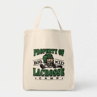 Big Kid Lacrosse Camp Green Helmet Canvas Bag