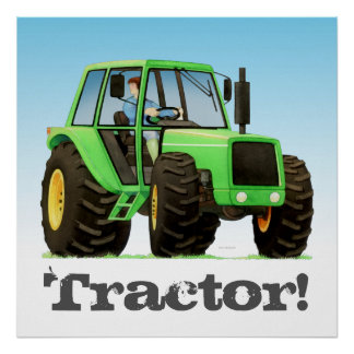 Big Kids Custom Green Farm Tractor Poster