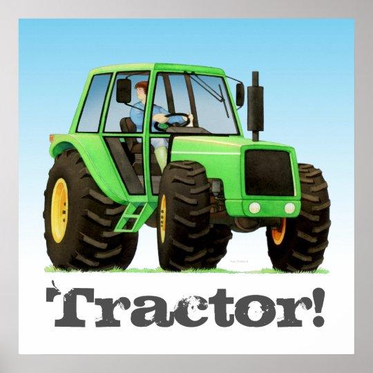 Big Kids Custom Green Farm Tractor Poster