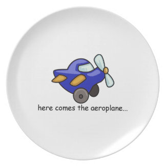 "Big Kids ""Here comes the Aeroplane"" Plate"