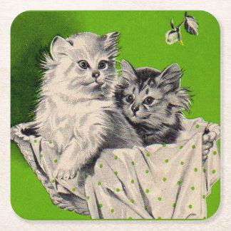 big kitten little kitten square paper coaster