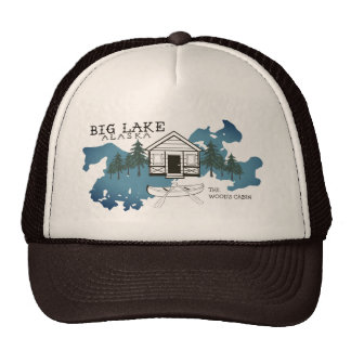 Big Lake Alaska Cabin Trucker Hat