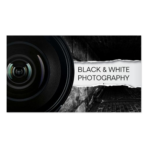 Big Lens Black & White photography business card
