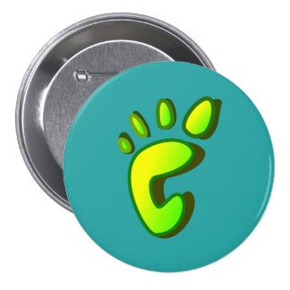 Big Lime Green Footprint 7.5 Cm Round Badge