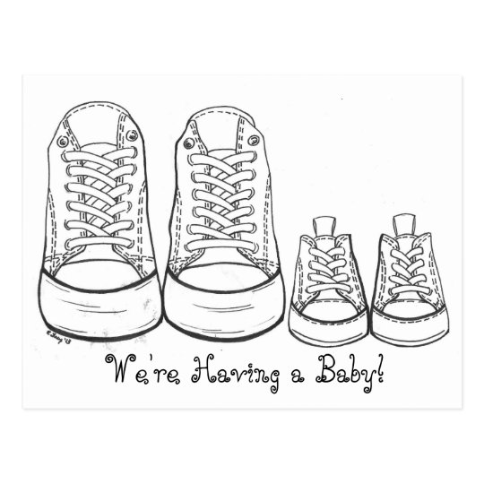 Big Little Sneakers New Baby Birth Announcement Postcard