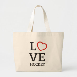 Big LOVE Hockey Large Tote Bag