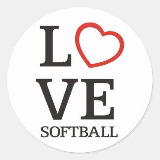 Big LOVE Softball Classic Round Sticker