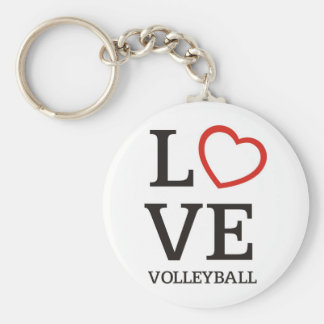 Big LOVE Volleyball Basic Round Button Key Ring