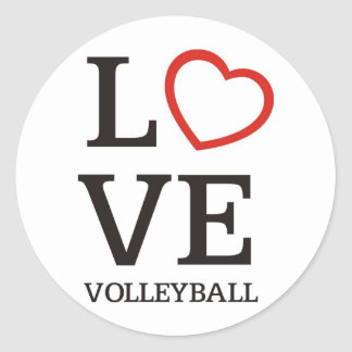 Big LOVE Volleyball Round Sticker