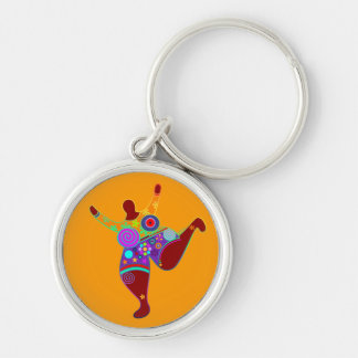 BIG MAMA / POWER WOMAN + your idea Silver-Colored Round Key Ring