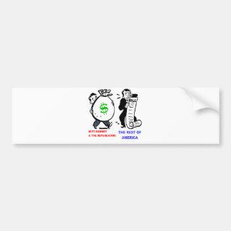 Big Moneybags Mitt Romney versus average Americans Bumper Sticker