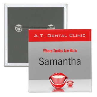 Big Mouth Dental Dentist Name Tags Square Buttons