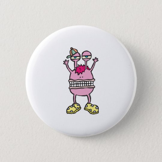 big mouth funny monster 6 cm round badge