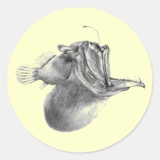 Big mouth gulper angler fish pencil drawing round stickers