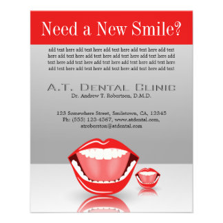 Big Mouth Small Dentist Dentistry Dental Red Gray Flyer