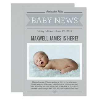 Big News Birth Announcement | Gray & Charcoal