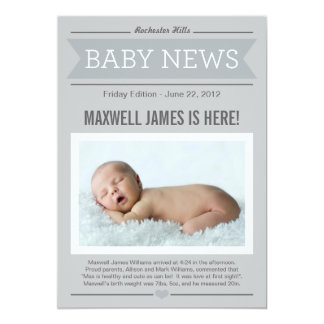 Big News Birth Announcement   Gray & Charcoal