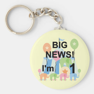 Big News Circus 1st Birthday T-shirts and Gifts Basic Round Button Key Ring