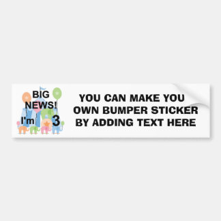 Big News Circus 3rd Birthday Tshirts and Gifts Bumper Sticker