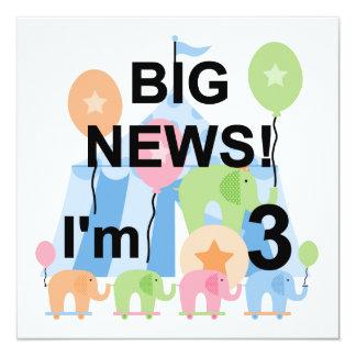 Big News Circus 3rd Birthday Tshirts and Gifts Custom Announcements